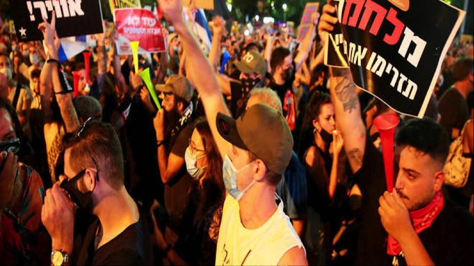 Près de 180 000 personnes ont manifesté dans les rues de Tel-Aviv pour se plaindre de la situation économique du pays. © Danile Bar On / ANADOLU AGENCY / Anadolu Agency via AFP